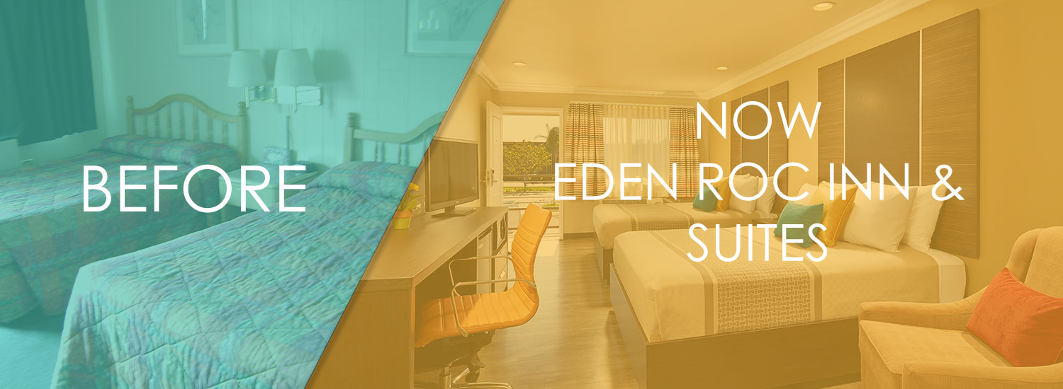 image of before and after renovation of rooms at eden roc